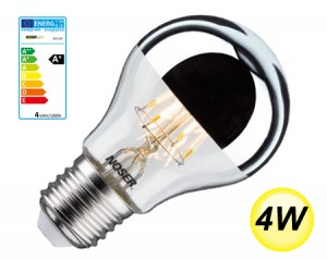 NOSER LED Standard-Kopfspiegel A60, E27, 4W, 400lm, warmweiss - 2700°K