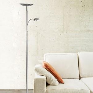 LED Stehleuchte KENTO mit 18W Deckenfluter und flexiblem 5W Lesearm
