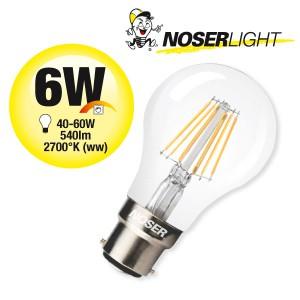 NOSER LED A60 klar, B22, 6W, 540lm, 360°, 2700°K warmweiss, dimmbar, CRI>80, Art. Nr. 416.06D