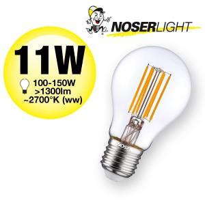 NOSER LED A60, E27, klar, 11W, >1300lm, 220-240V, warmweisses Licht