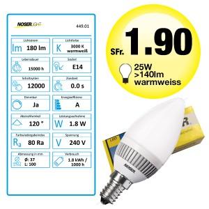 NOSER LED E14 Kerzenlampe, matt, 1.8W, nicht dimmbar, warmweiss 2700-3500°K, Art. Nr. 449.01