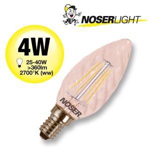 NOSER Filament LED Kerze C35 gedreht, goldgelüstert, 4W, 360lm, warmweiss, Art. Nr. 449.0411