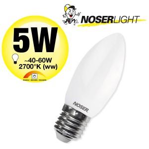 NOSER LED Kerze C37 gedreht, satin, E27, 5W, 550lm, dimmbar, 2700°K, Art. Nr. 449.0527
