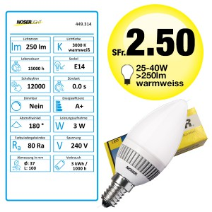 NOSER LED E14 Kerze C37, matt, 3W, >250lm, 2700°K - warmweiss, 240V, Art. Nr. 449.314