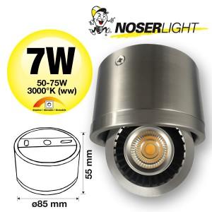NOSER LED Aufbauleuchte nickel matt, 7W, 510lm/1489cd, warmweiss - 3000°K, dimmbar