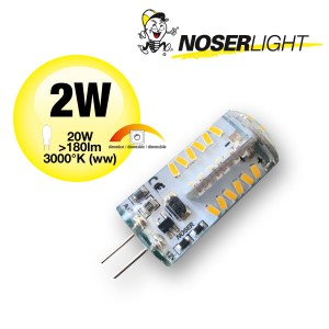 NOSER LED Stiftsockel G4, 2W,  >180lm, 12V, 3000°K - warmweiss, dimmbar