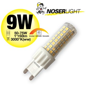 NOSER LED-Stiftsockel G9, 9W, 220-240V, ~50/60Hz, warmweiss - 3000°K, DIMMBAR, Art.-Nr. 932.09