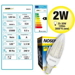 "NOSER LED E14 Kerze ""wave"" 1.5-2W, warmweiss (ww)"