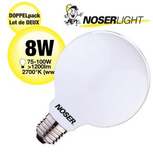 NOSER Filament LED Globe G125, opal, E27, 8W, 1200lm, warmweiss