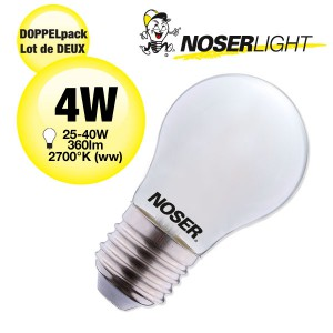 DOPPELPACK! NOSER LED Filament G45 Tropfenlampe, opal, E27, 4W, 350lm, warmweiss