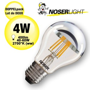 DOPPELPACK! NOSER LED Standard-Kopfspiegel A60, E27, 4W, 400lm, warmweiss - 2700°K