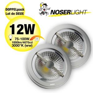 DOPPELPACK! LED AR111 Alu-Reflektor, G53, 12W, 12V, 40°, dimmbar, Art.Nr. 836.1314WWD