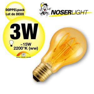 DOPPELPACK! NOSER Filament LED A60, goldgelüstert, E27, 3W, 120lm, 2200°K, Art. Nr. 418.31