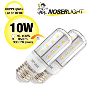 DOPPELPACK! NOSER LED E27, klar, 10W, 850lm, 3000°K warmweiss, dimmbar