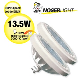 DOPPELPACK! LED AR111 Reflektor, GU10, 13.5W, 240V, 30°, dimmbar, Art.-Nr.: DP836.14