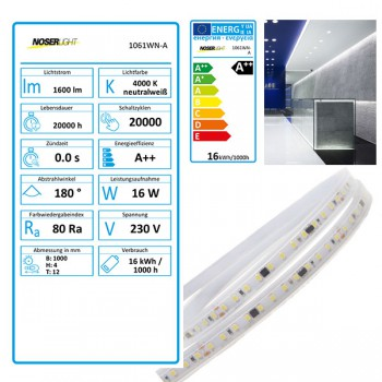 LED Strip 230V, 4000K, kaltweiss, IP65, <16W/m, 1600-1750lm/m, CRI>80