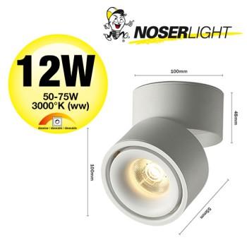 NOSER-LED Aufbauleuchte weiss, 12W, 850lm/2760cd, warmweiss -3000°K