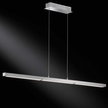 LED Pendelleuchte LEVI - gradliniges Design chrom Diamanteffekt