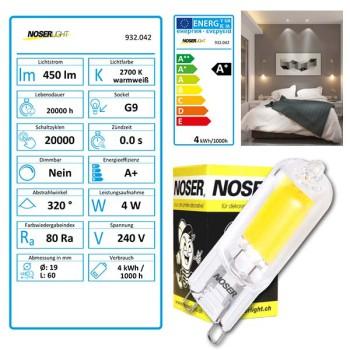 NOSER LED-Stiftsockel G9, 4W, 450lm 220-240V, ~50/60Hz, 2700°K, Art.-Nr. 932.042