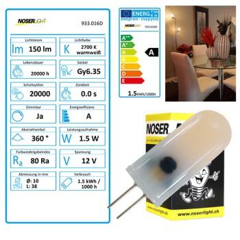 NOSER LED-Stiftsockel Gy6.35, 1.5W, 12V, CRI>80