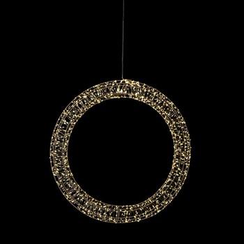 Angel Wreath Argento, 1200LED ww, D60x7cm, silbern, 12V/9W - 5m Kabel, indoor&outdoor, silbern, warmweiss,