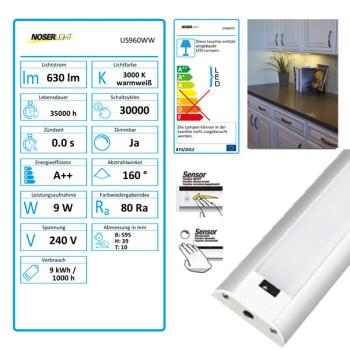 NOSER LED Lichtleiste / LED Stick 9W, mit Sensor, dimmbar, warmweisses Licht