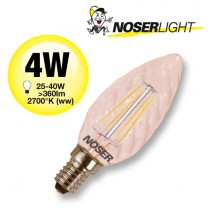 NOSER Filament LED Kerze C35 gedreht, goldgelüstert, 4W, 360lm, warmweiss, Art. Nr. 449.0411
