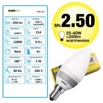 NOSER LED E14 Kerze C37, matt, 3W, >250lm, 2700°K - warmweiss, 240V, Art. Nr. 449.314