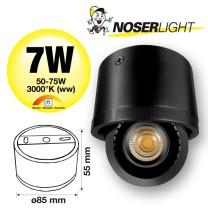 NOSER LED Aufbauleuchte schwarz, 7W, 510lm/1489cd, warmweiss - 3000°K, dimmbar