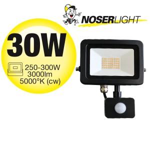 NOSER iLight LED-Strahler mit Bewegungsmelder, schwarz, 30W