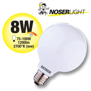 NOSER Filament LED Globe G125, opal, E27, 8W, 1200lm, warmweiss