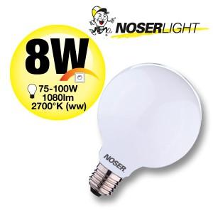 NOSER Filament LED Globe G95, opal, E27, 8W, 1080lm, warmweiss, Art. 101.08D