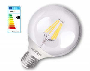 NOSER Filament LED Globe G80, E27, 4W, 450lm, warmweiss