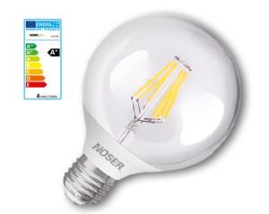 NOSER Filament LED Globe G80, E27, 4W, 450lm, warmweiss