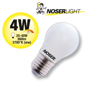 NOSER LED Filament G45 Tropfenlampe, opal, E27, 4W, 350lm, warmweiss