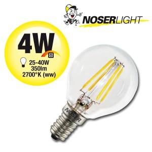NOSER-LED G45 Tropfenlampe, klar, E14, 4W, 350lm, warmweiss
