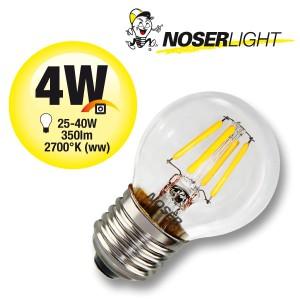 NOSER LED Filament G45 Tropfenlampe, klar, E27, 4W,400lm, warmweiss