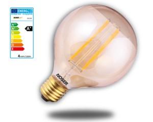 NOSER LED Globe G80, E27, 4W, 330lm, warmweiss - 2200°K - goldgelüstert