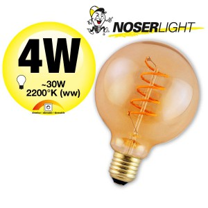 NOSER LED Globe G95, E27, 4W, 250lm, warmweiss - 2200°K - goldgelüstert, Art. 192.05