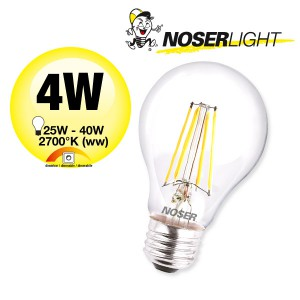 NOSER Filament LED A60, klar, E27, 4W, 350lm, warmweisses Licht, Art. Nr. 418.041
