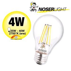 NOSER Filament LED A60, klar, E27, 4W, 350lm, warmweisses Licht, Art. Nr. 418.041