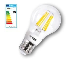 10er Pack NOSER Filament LED A55, klar, E27, 4W, 450lm, warmweisses Licht