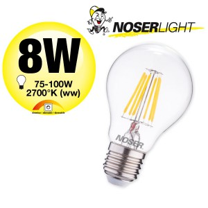 NOSER Filament LED A60, klar, dimmbar, E27, 8W, 960lm, warmweisses Licht, Art. Nr. 418.08D