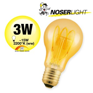 NOSER Filament LED A60, goldgelüstert, E27, 3W, 120lm, 2200°K, Art. Nr. 418.31