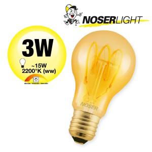 NOSER Filament LED A60, goldgelüstert, E27, 3W, 120lm, 2200°K, Art. Nr. 418.31