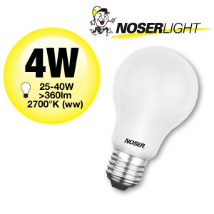 NOSER LED A60, E27, matt, 4W, 360lm, 220-240V, warmweisses Licht, Art. Nr. 419.04