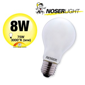 NOSER LED A60 matt, E27, 8W, 1050lm, 270°, 2700°K, CRI80, dimmbar      Art. 419.08D