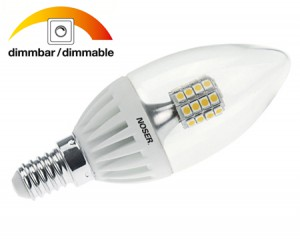 NOSER LED E14 Kerze C37, DIMMBAR, klar, 4W , 300lm, 3000°K - warmweiss, Art. Nr. 448.414D