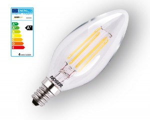 NOSER Filament LED E14 Kerze C35, klar, 4W, 350lm, warmweisses Licht, Art. Nr. 448.041