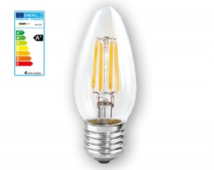 NOSER LED E27 Kerze C35, klar, 4W, 350lm, warmweiss - 2700°K, Art. Nr. 448.042